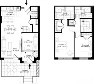 Plan du condo-maison 104 de la phase 3 de Westbury Montréal