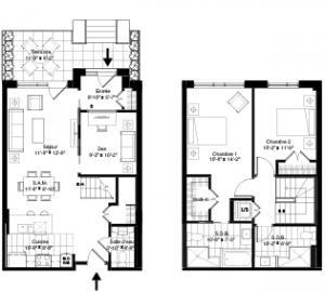 Plan du condo-maison 106 de la phase 3 de Westbury Montréal