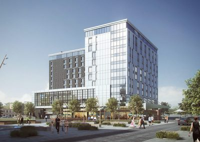 Perspective l'implantation de l'hôtel Hilton au coeur de Westbury Montréal