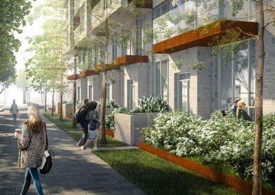 Vue de piéton dans le projet Westbury Montréal